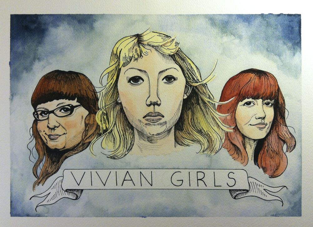 The Vivian Girls    11 x 14  pen and watercolor  2014  $60