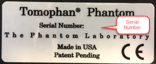 Catphan®  Serial Number Location