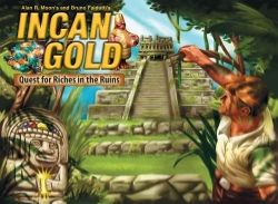 Incan Gold  , Plays 3 – 8, ages 6 and up, Designed by Bruno Faidutti and Alan R. Moon.