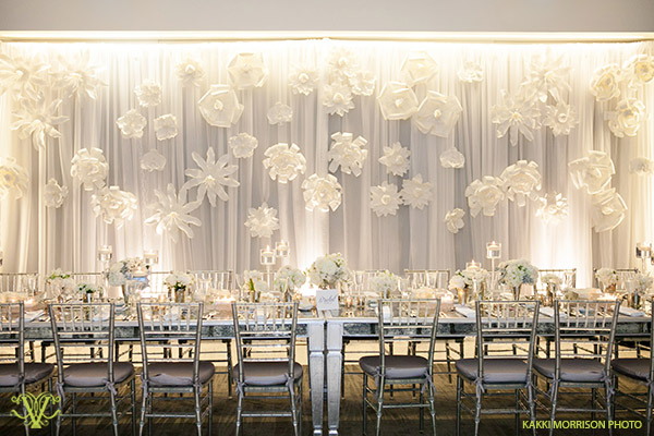 Victoria Clausen, Floral and Event Design, Baltimore/Washington DC. Wedding reception backdrop statement.