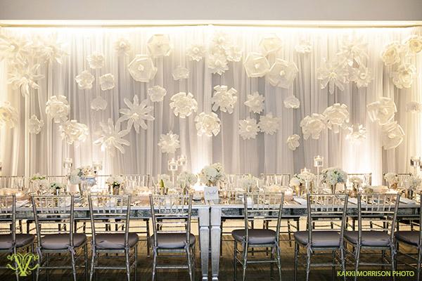 Victoria Clausen, Floral and Event Design, Baltimore/Washington DC. Wedding reception backdrop statement.