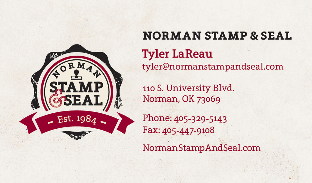 Norman Stamp & Seal Business Card
