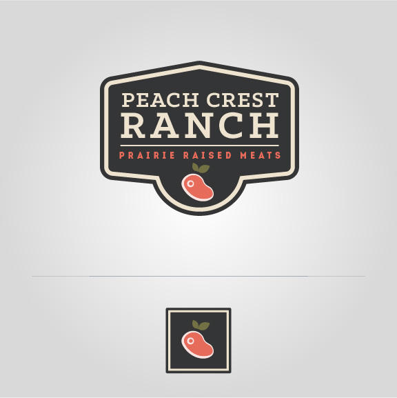 Peach Crest Black Sign