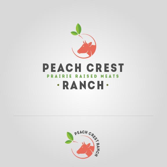 Peach Crest Red Cow Logo