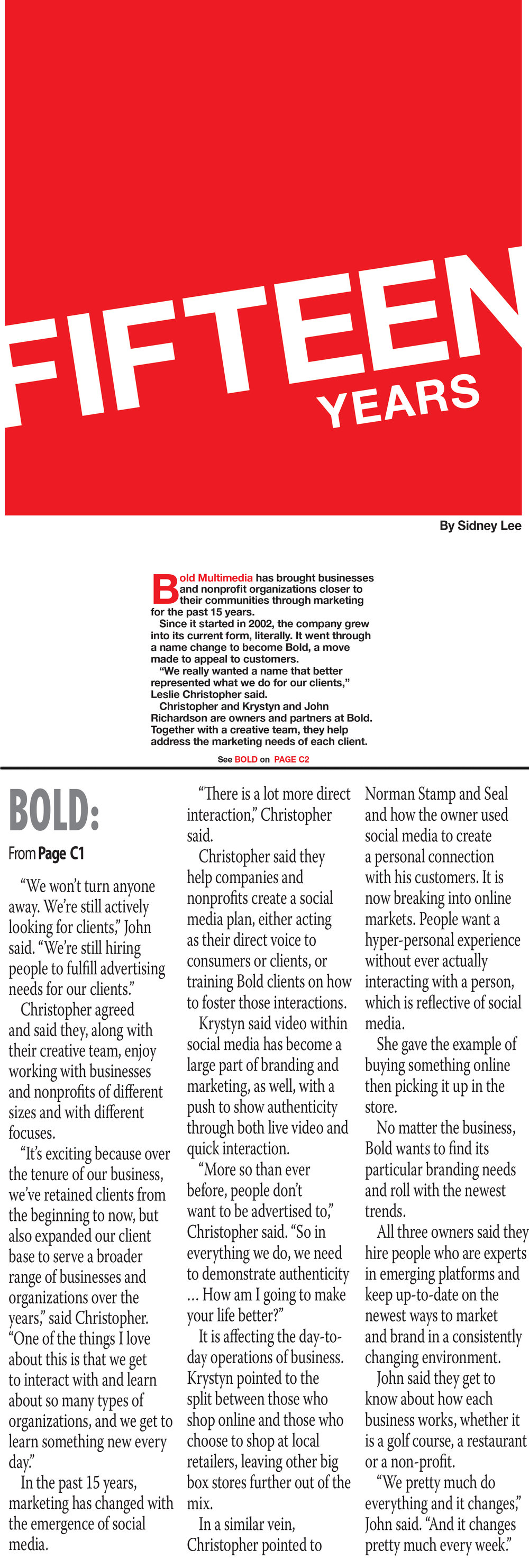Bold 15 Year's in Norman Recognition Article