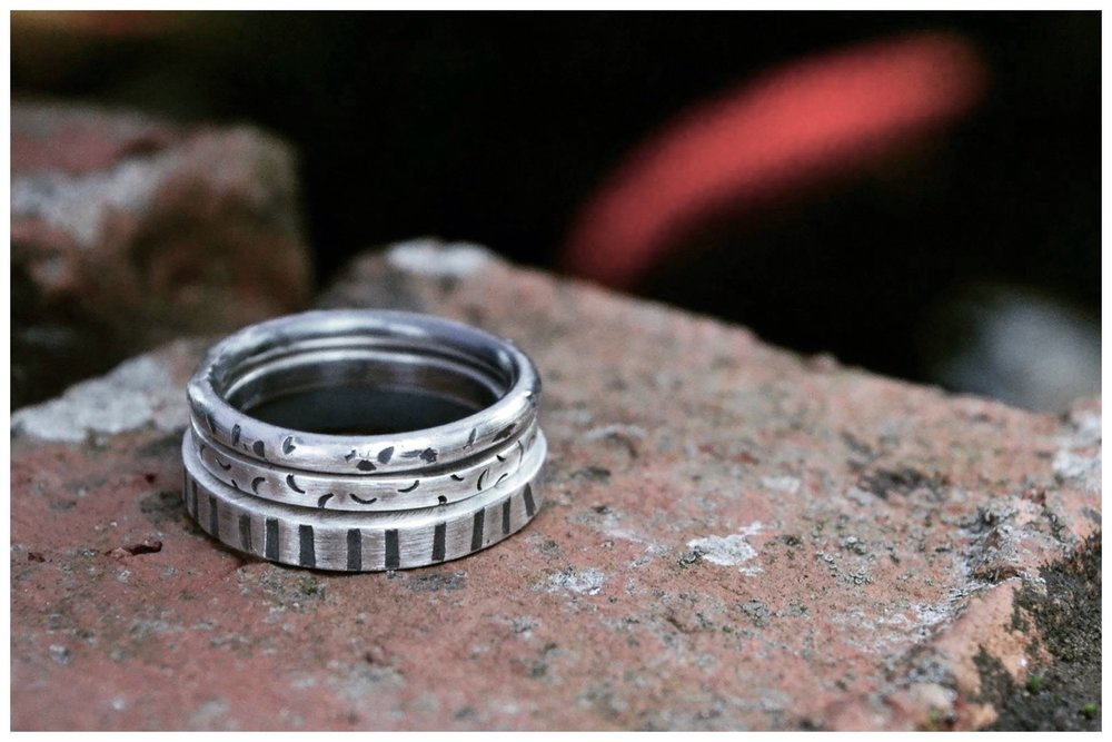 Sterling silver textured rings.
