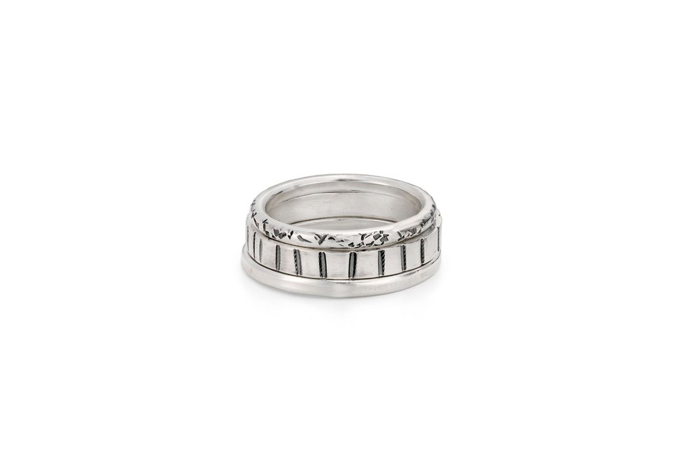 Sterling silver textured rings,available in different sizes, thickness of silver and a range of different textures pricing   from £70