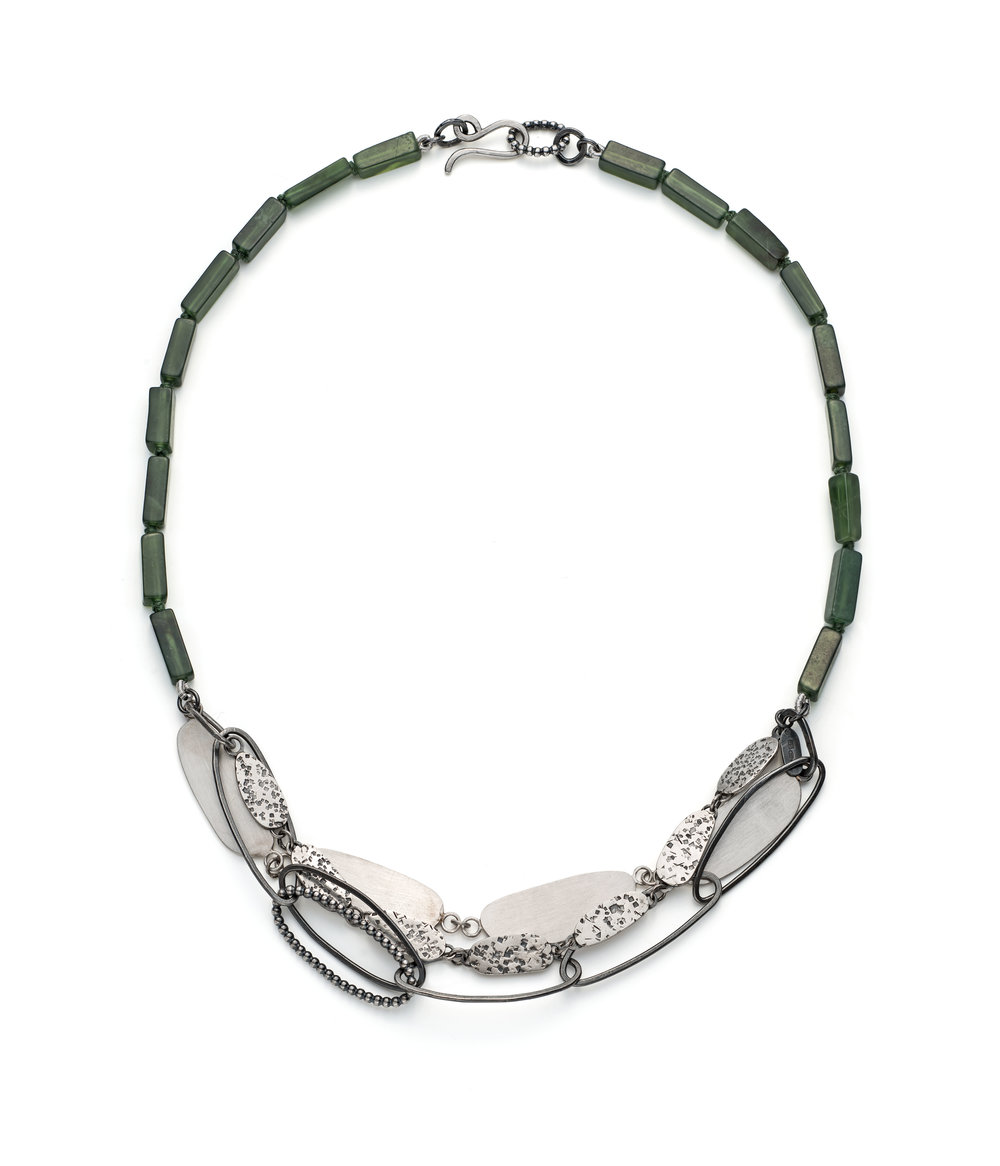 Large layered pebble necklace, Royal green semi precious beads, with layers of sterling silver detail, oval textured and non textured shapes with wire work.