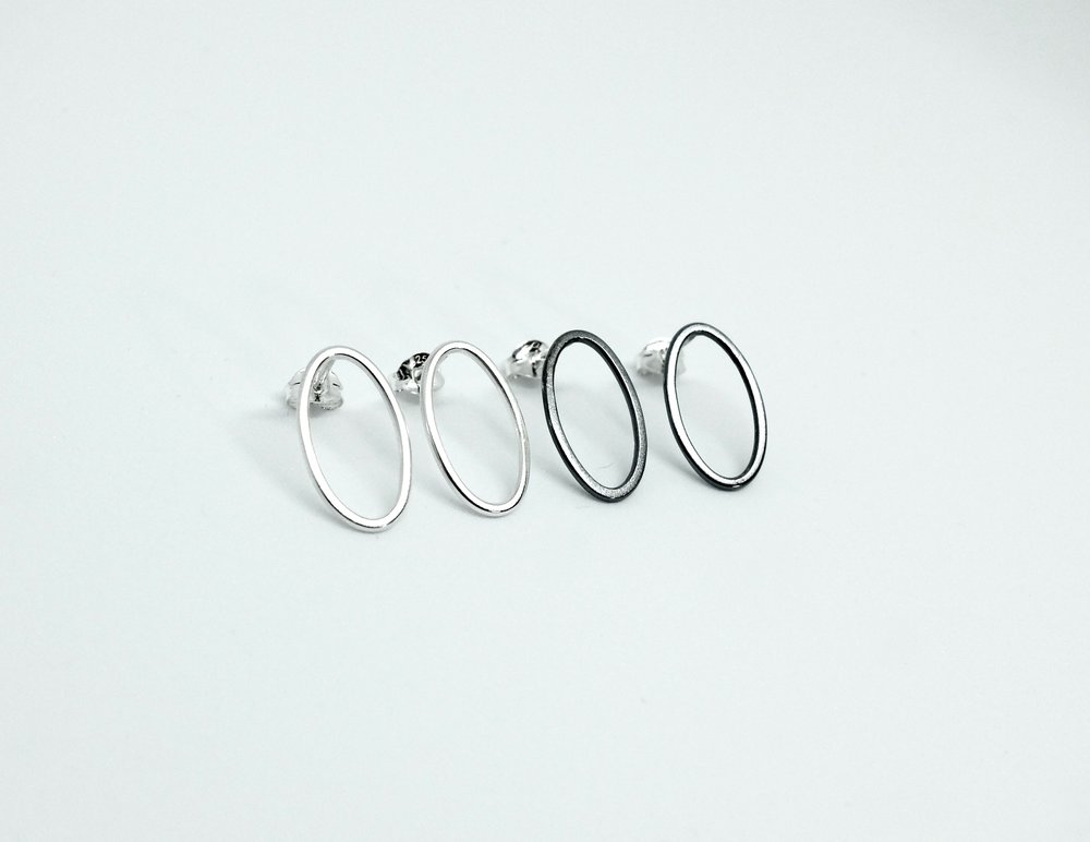 Sterling silver wire studs.