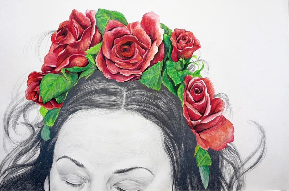 Where wild roses grow  Blyerts och akvarell 60x40cm