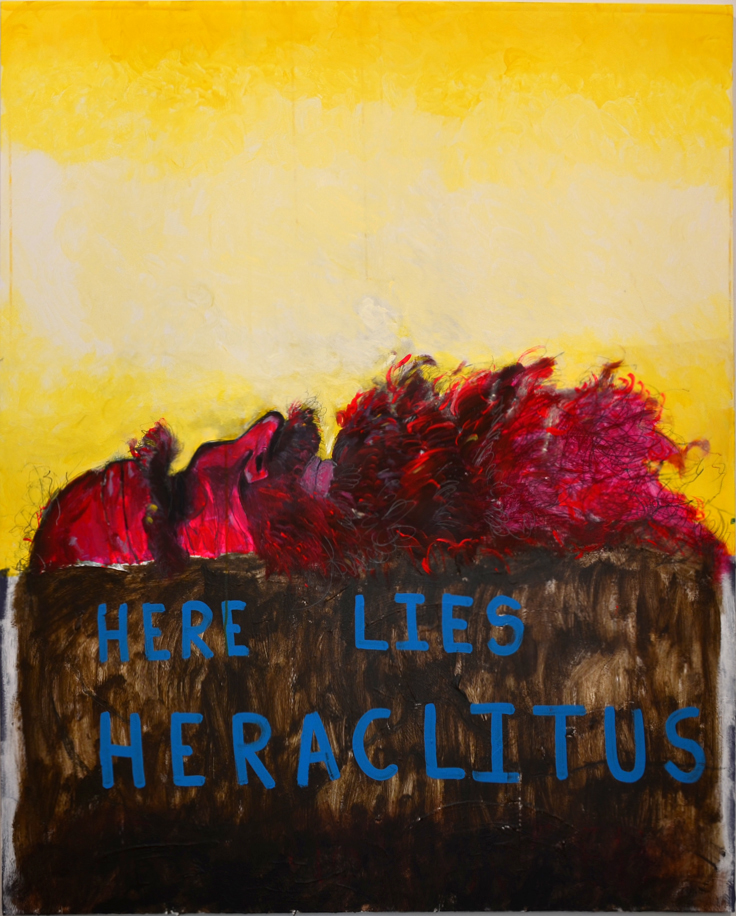 the death of Heraclitus, 60x48in, acrylic, graphite, marker on canvas