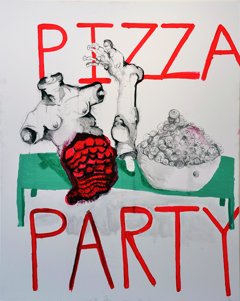still life with green table (at a pizza party), 60x48in, acrylic, marker, graphite on canvas