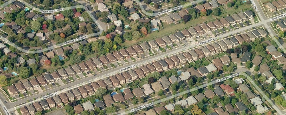 Ridgecrest Drive is located in a former hydro corridor