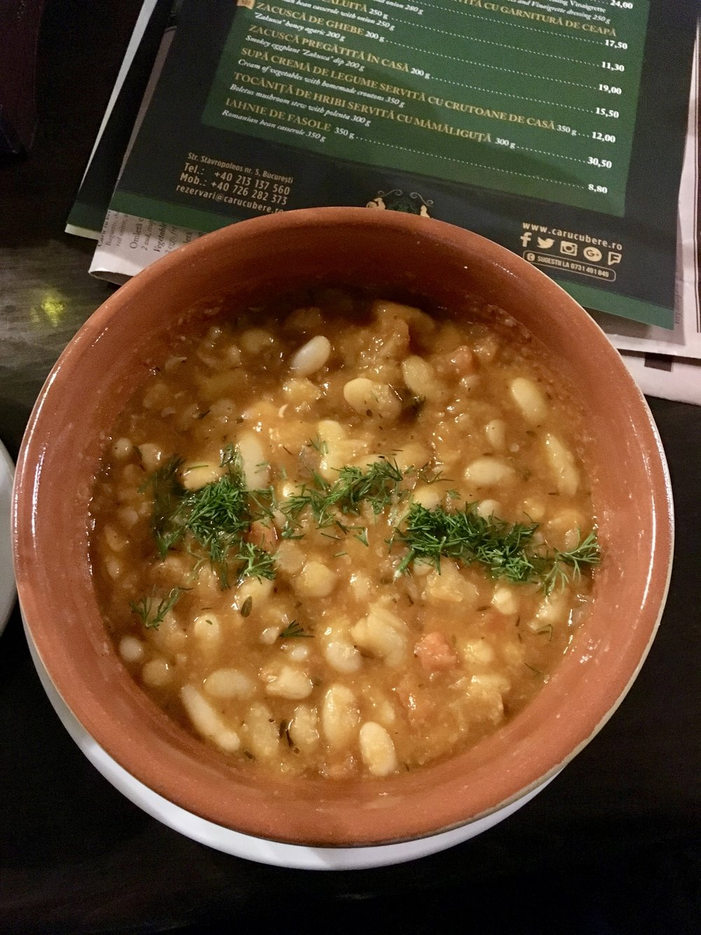 Bean cassoulet at Caru Cu Bere