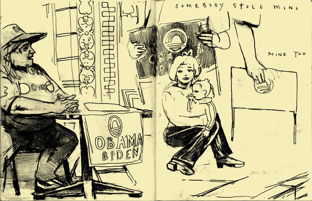 Election Sketchbook: Obama Headquarters, 3 Days To Go