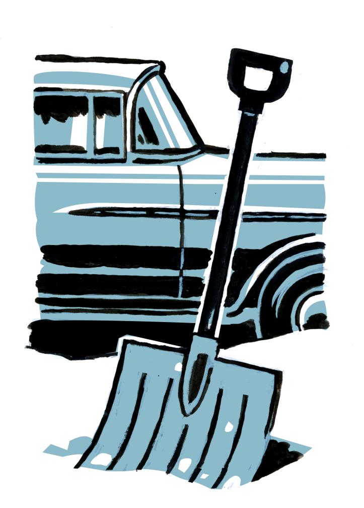 '55 Chevy & Shovel spot illustration