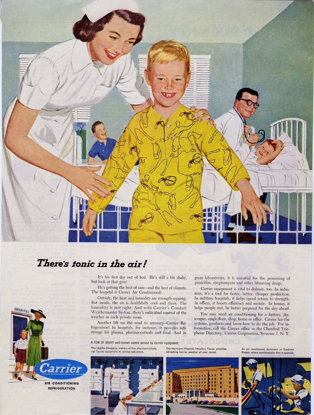 Mac Conner, advertisement illustration,  There's tonic in the air,  for the Carrier corporation. Circa 1955.