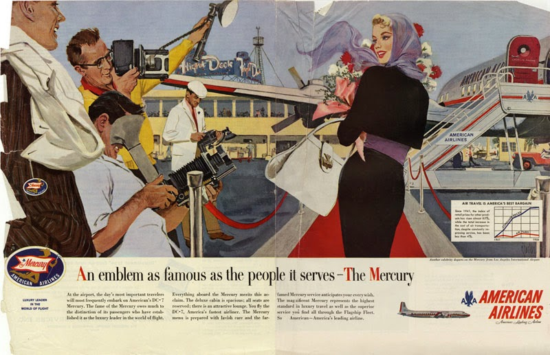 Parker, An emblem as famous as the people it serves, two-page spread advertisement for American Airlines, circa 1959.