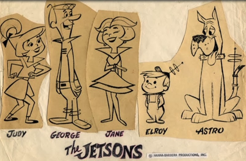 Ed Benedict (?), Character Sheet for The Jetsons, a Hanna-Barbera Show, 1962. George, Jane, Judy et. al., may have been designed by Benedict–they betray his sense of shape. I have never been able to find a character design credit for the show.