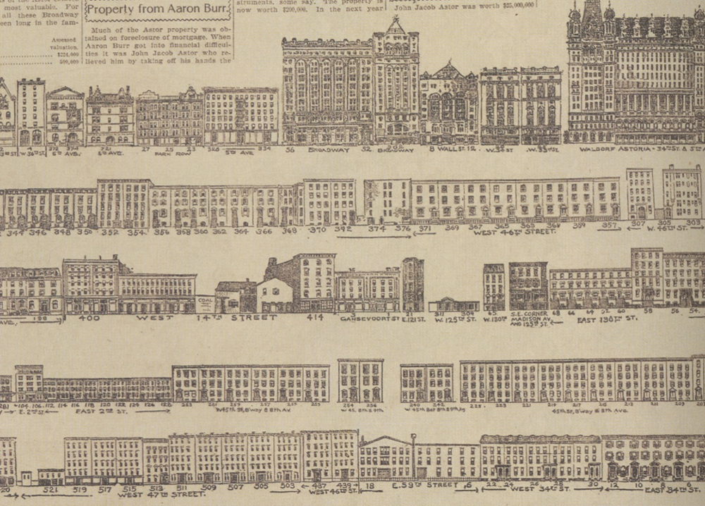 Illustrator uncredited, a fragment of a broadsheet-sized rendering of the Astor family real estate empire, published on January 1, 1899 by the  New York World  .