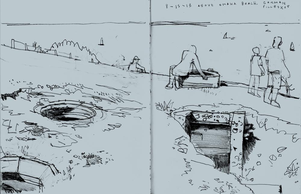 Sketchbook Drawing, Above Omaha Beach