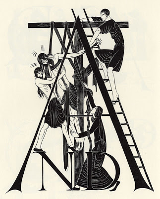 Eric Gill, deposition capital,   The Four Gospels  , Golden Cockerel Press, 1931
