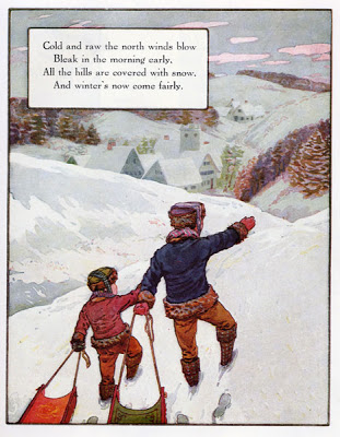 "Frederick Richardson, ""Cold and Raw the North Winds Blow,"" in the  Volland Edition Mother Goose , 1915"