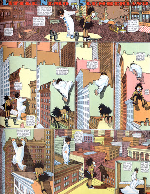 Winsor McCay, Little Nemo and Impy clamber over buildings in Manhattan, Little Nemo in Slumberland, New York Herald, September 22, 1907