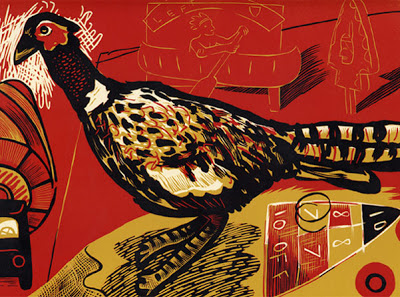 "D.B. Dowd, ""Spirit Animal Pheasant,"" reduction linocut from Visit Mohicanland, 2007"