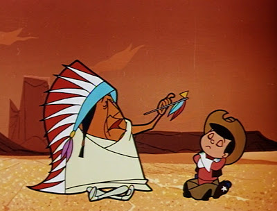 "Indian Chief smoking ""peace pipe"" with boy, When a Cowboy Needs a Horse, Walt Disney Productions, 1956, directed by Bill Justice"
