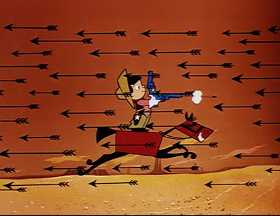 animation still depicting easily foiled Indian ambush from When a Cowboy Needs a Horse