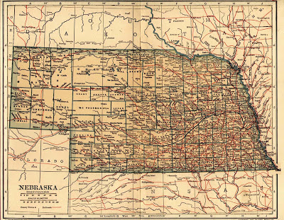 Political Map, State of Nebraska, The New International Encyclopedia, Dodd Mead and Company, New York, 1908