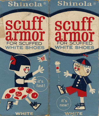 Package design, New Shinola Scuff Armor for white shoes. A product of Best Foods, a division of Corn Products Company, Indianapolis, Indiana. Circa 1960