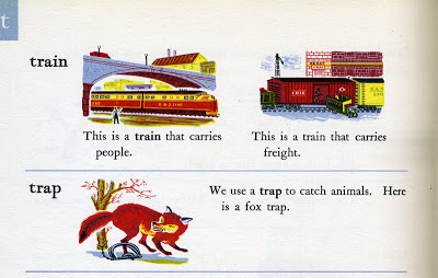 "Joseph Low, illustrated entries for ""fair,"" ""trains"" and ""trap,"" Rainbow Dictionary, World Publishing Company, Cleveland, 1947"