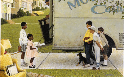 "Norman Rockwell, New Kids in the Neighborhood, illustration for ""Negro in the Suburbs,"" by Jack Star, Look, May 16, 1967"