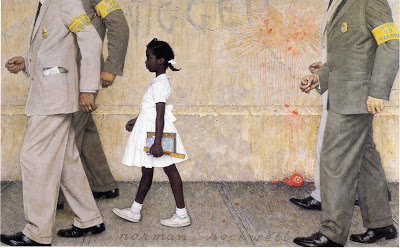 Rockwell, The Problem We All Live With, Look, June 14, 1964; the image shows Ruby Bridges between four Marshals on her way into her first day at an all-white school in New Orleans in 1960 (today, Ruby Bridges sits on the NRM board)