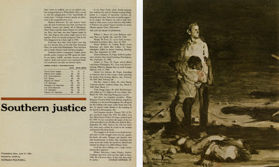 "Norman Rockwell, double-page tearsheet for ""Southern Justice,"" Look, June 29, 1965"