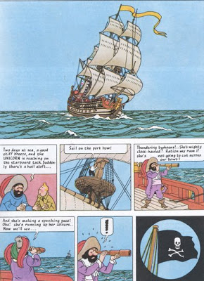 Hergé, comic book page,  The Secret of the Unicorn , Volume 11 in  The Adventures of Tintin , 1942-43