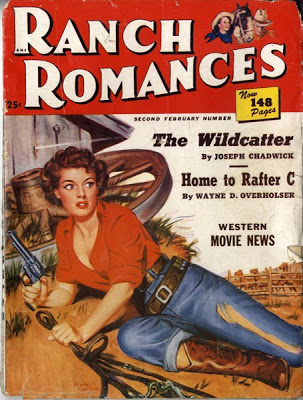 Illustrator unknown, cover, Range Romances, February 1951