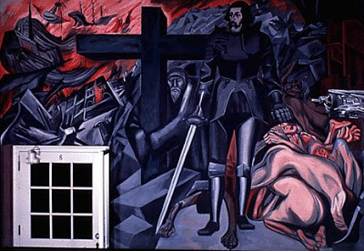 Jose Clemente Orozco, The Epic of American Civilization, fresco cycle, Baker Library, Dartmouth College, Hanover, New Hampshire. 1932-34. Panel 11, Cortez and the Cross.