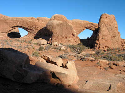 North and South Window Arches, eroded into the same sandstone fin.