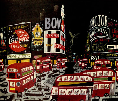 Miroslav Sasek,  View of Picadilly Square . From  This is London . 1959.
