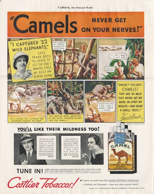 Camel Cigarette adverstisement, Collier's, February 29, 1936. In addition to selling cigarettes, the ad provides cross-promotion for Camel Caravan, a variety show sponsored by Camel that ran on CBS Radio beginning in 1933, and survived in revised forms until 1954.