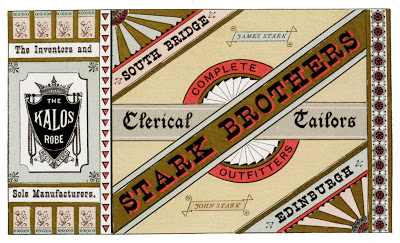 Stark Brothers, Clerical Taylors, printed by John Baxter & Son, Artistic Printers, Edinburgh, Scotland; letterpress-printed advertisement 1882, reprinted in The Handy Book of Artistic Printing by Doug Clouse and Angela Voulangas, Princeton Architectural Press, 2009