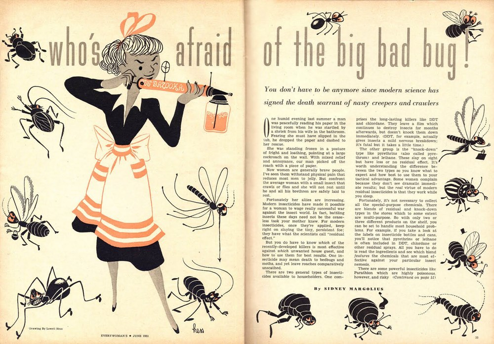 Lowell Hess, fiction illustration for Who's afraid of the big bad bug?  Every Woman Magazine, June 1951.