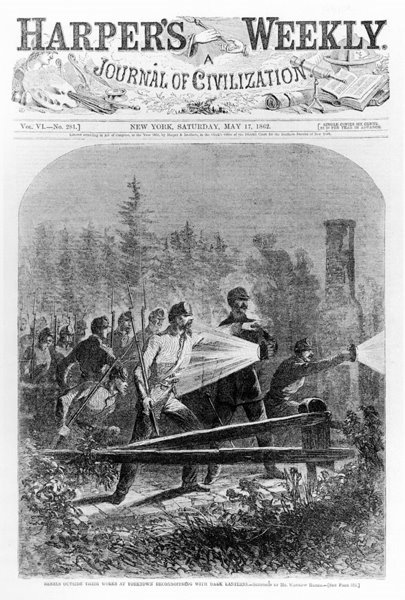 Winslow Homer, Rebel Soldiers on Night Patrol, Harper's Weekly, May 17, 1862