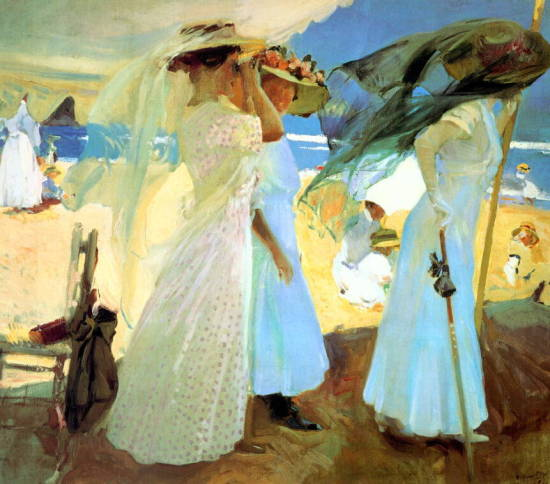 Under the Awning, 1910, the only Sorolla painting SLAM kept. Oil on canvas; Collection of the Saint Louis Art Museum