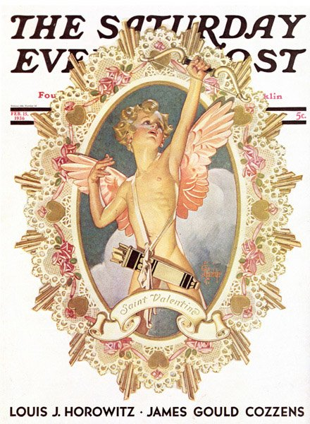 J.C. Leyendecker, Cupid, Saturday Evening Post cover, February 15, 1936