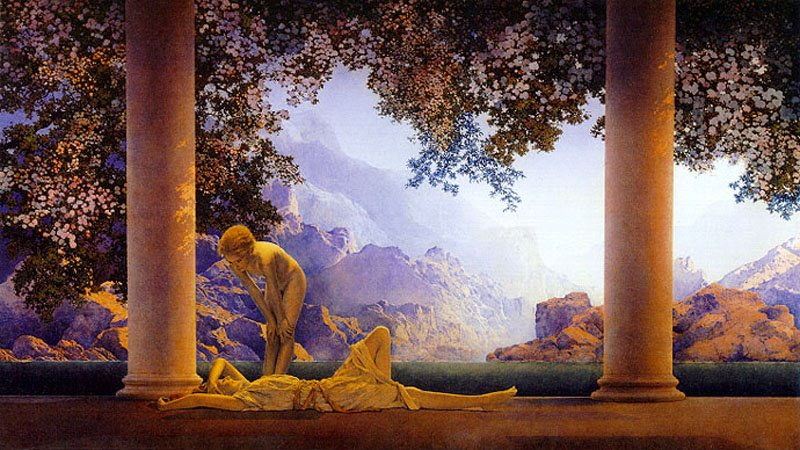 Maxfield Parrish,  Daybreak , 1922. This image, of vaguely sexualized pre-adolescent girls decamped to a sunwashed Arcadian villa, was issued as a single sheet lithographic print for home sales in 1922. It sold fantastic numbers of copies. It has been reliably estimated that  Daybreak  appeared on a wall in 1 out of every 4 American homes by 1930.