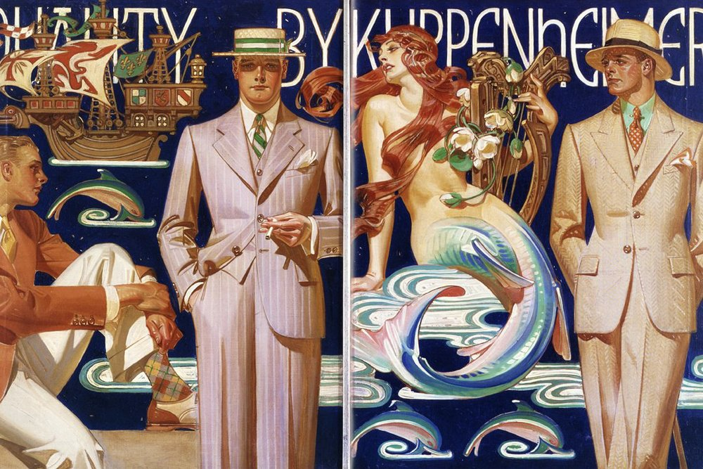 Leyendecker, Kuppenheimer Clothing ad (with mermaid!), circa 1930